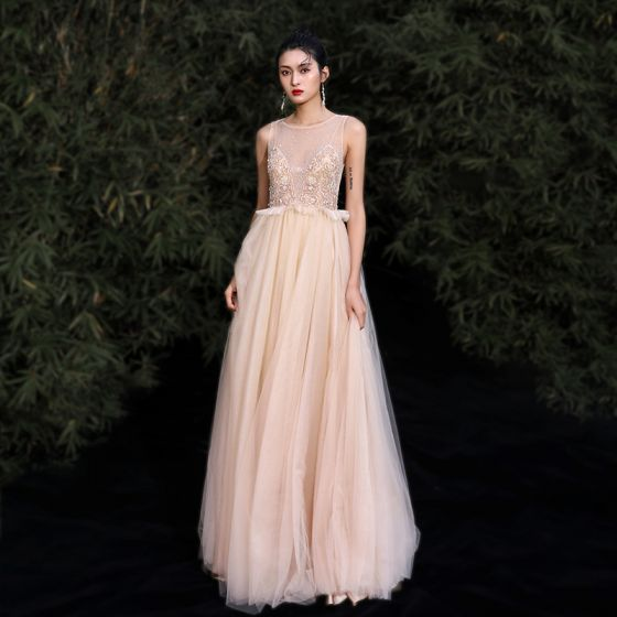 Elegant Gold Evening Dresses  2020 A-Line / Princess Scoop Neck Beading Rhinestone Sleeveless Floor-Length / Long Formal Dresses