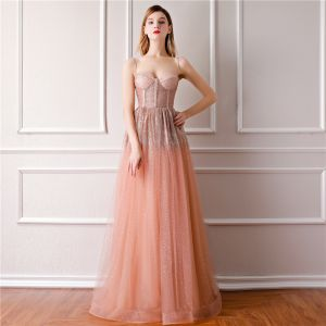 Bling Bling Orange Prom Dresses 2019 A-Line / Princess Spaghetti Straps Sleeveless Glitter Tulle Floor-Length / Long Ruffle Backless Formal Dresses