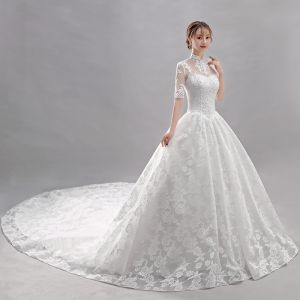 Affordable White Wedding Dresses 2018 Ball Gown Lace Flower High Neck Backless Short Sleeve Cathedral Train Wedding