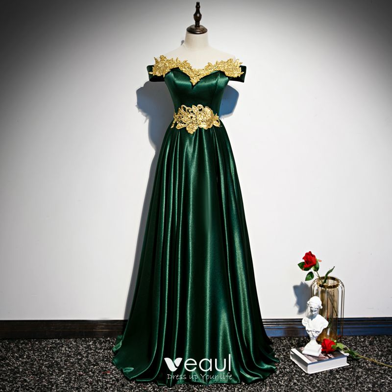 picked up new products for pretty and colorful Chic / Beautiful Dark Green Satin Evening Dresses 2020 A-Line / Princess  Off-The-Shoulder Short Sleeve Gold Appliques Lace Beading Floor-Length /  Long ...