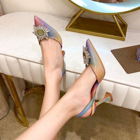 Fashion Rainbow Multi-Colors Casual Womens Sandals 2020 Rhinestone 8 cm Stiletto Heels Pointed Toe Sandals