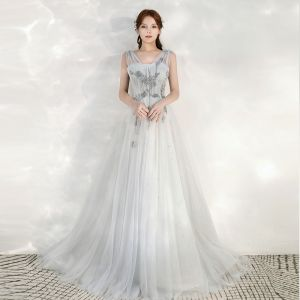 High-end Grey Evening Dresses  2020 A-Line / Princess Shoulders Sleeveless Appliques Beading Sequins Sweep Train Ruffle Backless Formal Dresses