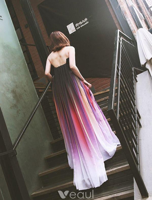 Fashion Evening Dresses 2016 Strapless Gradient Color Silk Chiffon Backless Long Dress