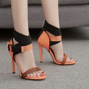 Chic / Beautiful Orange Casual Womens Sandals 2020 Ankle Strap 11 cm Stiletto Heels Open / Peep Toe Sandals