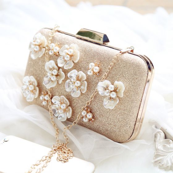 Chic / Beautiful Gold Clutch Bags Beading Flower Pearl Rhinestone Wedding Evening Party Accessories 2019