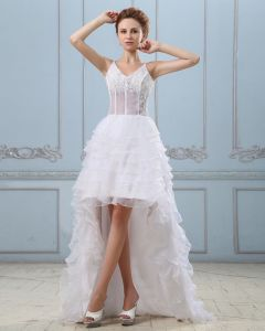 Court Train V-Neck Applique Layered Mini Wedding Dresses