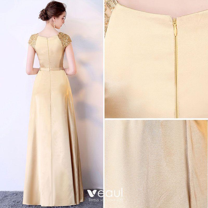 Affordable Royal Blue Evening Dresses  2017 Short Sleeve Beading Rhinestone Sash Ruffle Satin Formal Dresses
