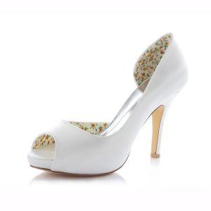 Klassische Weiße Satin Brautschuhe Stöckelschuhe  Pumps 10cm Hohen Absatz Peep Toe
