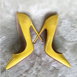 Hermoso Amarillo Oficina OL Charol Tacones 2020 12 cm Stilettos / Tacones De Aguja Punta Estrecha Tacones