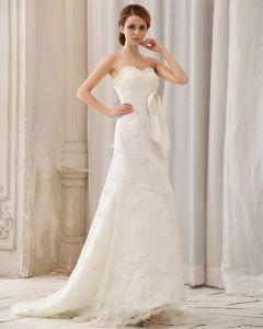 Satin Perlen Applique Schatz Kapelle A-linie Brautkleider Hochzeitskleid