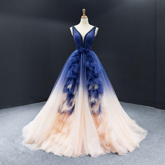 Gama Alta Azul Real Champán Concurso de belleza Vestidos de noche 2020 A-Line / Princess V-cuello Profundo Sin Mangas Sin Espalda Rebordear Colas De La Corte Ruffle Vestidos Formales
