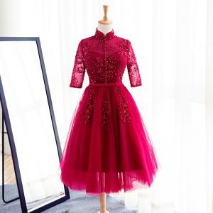 Chic / Beautiful Red Evening Dresses  2017 A-Line / Princess Bow Beading Sequins High Neck 3/4 Sleeve Knee-Length Evening Party