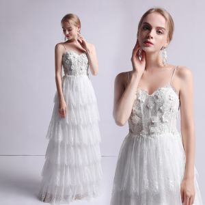 Modest / Simple Ivory Wedding Dresses 2019 A-Line / Princess Spaghetti Straps Sleeveless Backless Appliques Lace Pearl Floor-Length / Long Cascading Ruffles