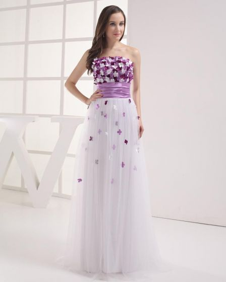 Strapless Floor Length Flowers Pleated Tulle Imitation Silk Women Prom Dress