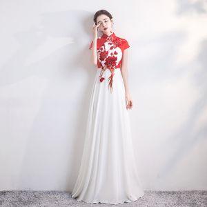 Estilo Chino Rojo Blanco Gasa Cheongsam 2020 A-Line / Princess Cuello Alto Mangas de la tapa Apliques Bordado Largos Vestidos Formales