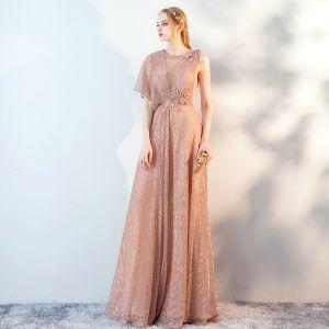 Edles Champagner Durchsichtige Abendkleider 2019 A Linie Rundhalsausschnitt Ärmellos Glanz Polyester Lange Rüschen Festliche Kleider