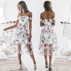 Modern / Fashion White Dating Maxi Dresses 2018 A-Line / Princess Printing Off-The-Shoulder Short Sleeve Tea-length Womens Clothing