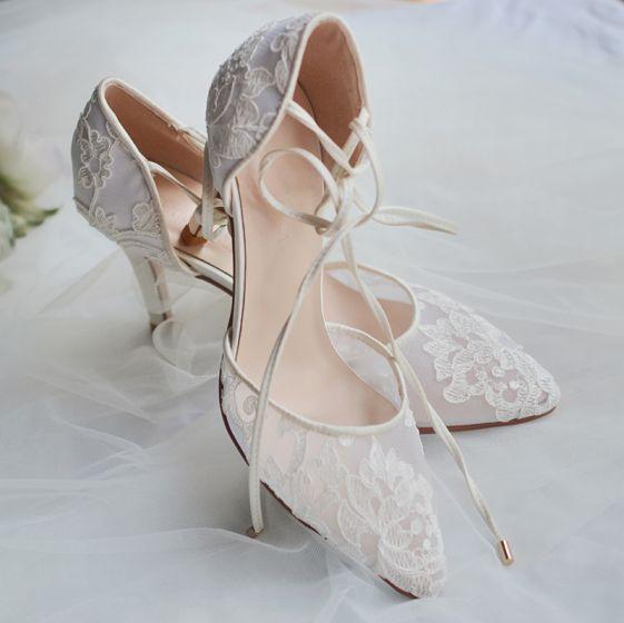 High End Ivory / Creme Brautschuhe 2020 Tülle Spitze Blumen Riemchen 8 cm Stilettos Spitzschuh Hochzeit Hochhackige