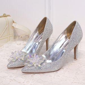Brillante Plata Zapatos de novia 2018 Crystal Rhinestone 9 cm Stilettos / Tacones De Aguja Punta Estrecha Boda Tacones