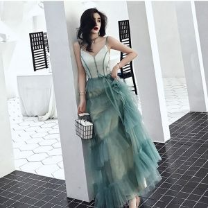 Mode Farbverlauf Abendkleider 2019 A Linie Spaghettiträger Schleife Ärmellos Rückenfreies Lange Festliche Kleider