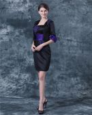 Satin Square Neck Applique Knee Length Mothers of Bride Guests Dress