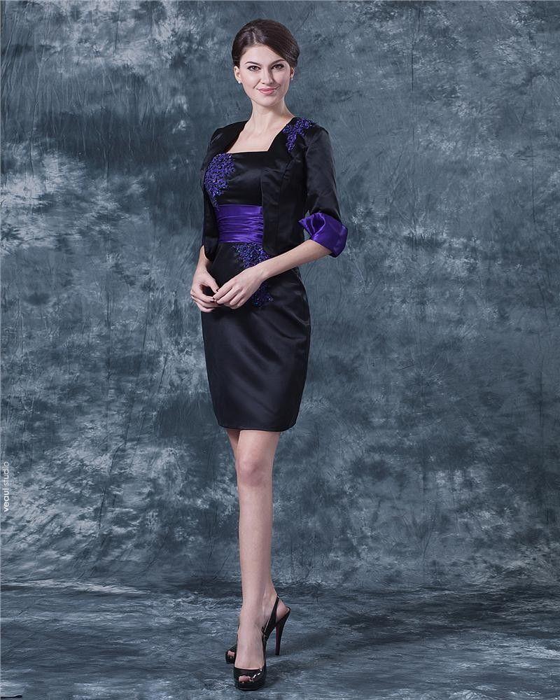 Satin Square Neck Applique Knee Length Mothers of Bride Guests Dress