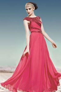 U-ausschnitt Sleeveless Fußboden Länge Charmeuse Frau Abendkleid
