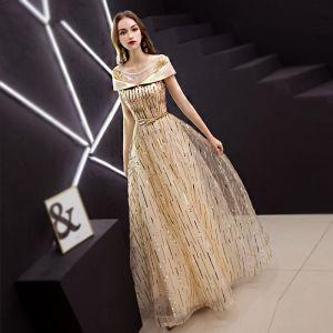 Mode Gold Abendkleider 2019 A Linie Rundhalsausschnitt Perlenstickerei Pailletten Kurze Ärmel Rückenfreies Metall Stoffgürtel Lange Festliche Kleider