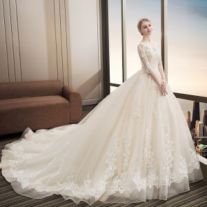 Chic / Beautiful Champagne Wedding Dresses 2018 Ball Gown Lace Appliques Sequins V-Neck Backless 1/2 Sleeves Cathedral Train Wedding