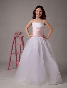 White A-line Spaghetti Satin Floor Length Flower Girl Dress