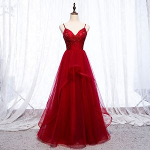 Chic / Beautiful Burgundy Evening Dresses  2019 A-Line / Princess Spaghetti Straps Appliques Beading Crystal Sleeveless Backless Floor-Length / Long Formal Dresses