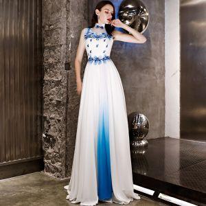 Style Chinois Ivoire Robe De Soirée 2019 Princesse Organza Appliques En Dentelle Faux Diamant Col Haut Sans Manches Longue Robe De Ceremonie