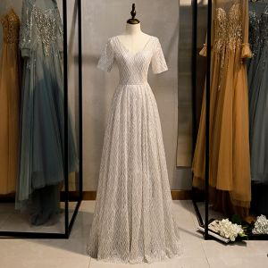 Scintillantes Argenté Gris Glitter Robe De Soirée 2020 Princesse V-Cou Paillettes Manches Courtes Dos Nu Longue Robe De Ceremonie