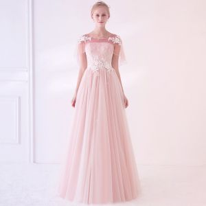 Elegant Blushing Pink See-through Prom Dresses With Shawl 2018 Empire Scoop Neck Sleeveless Appliques Lace Flower Beading Floor-Length / Long Ruffle Backless Formal Dresses