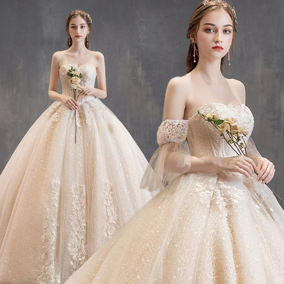 Charmant Champagner Brautkleider / Hochzeitskleider 2019 Ballkleid Bandeau Perlenstickerei Spitze Blumen Kurze Ärmel Rückenfreies Kathedrale Schleppe