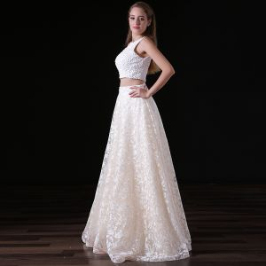 Chic / Beautiful Ivory 2 Piece Wedding Dresses 2018 A-Line / Princess Lace Pearl Scoop Neck Backless Sleeveless Floor-Length / Long Wedding