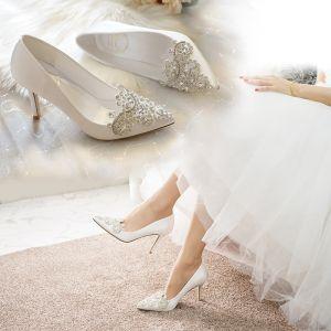 Fashion Ivory Rhinestone Wedding Shoes 2020 9 cm Stiletto Heels Pointed Toe Wedding Pumps