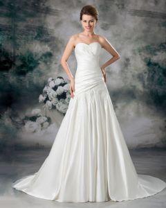 Satin Applikation Flæse Domstol Tog Kæreste Bolden Kjole Kvinder En Linje Brudekjole
