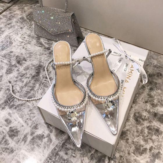 Transparent Sexy Silber Perle Strass Brautschuhe 2021 9 cm Stilettos Spitzschuh Hochzeit Sandaletten Hochhackige