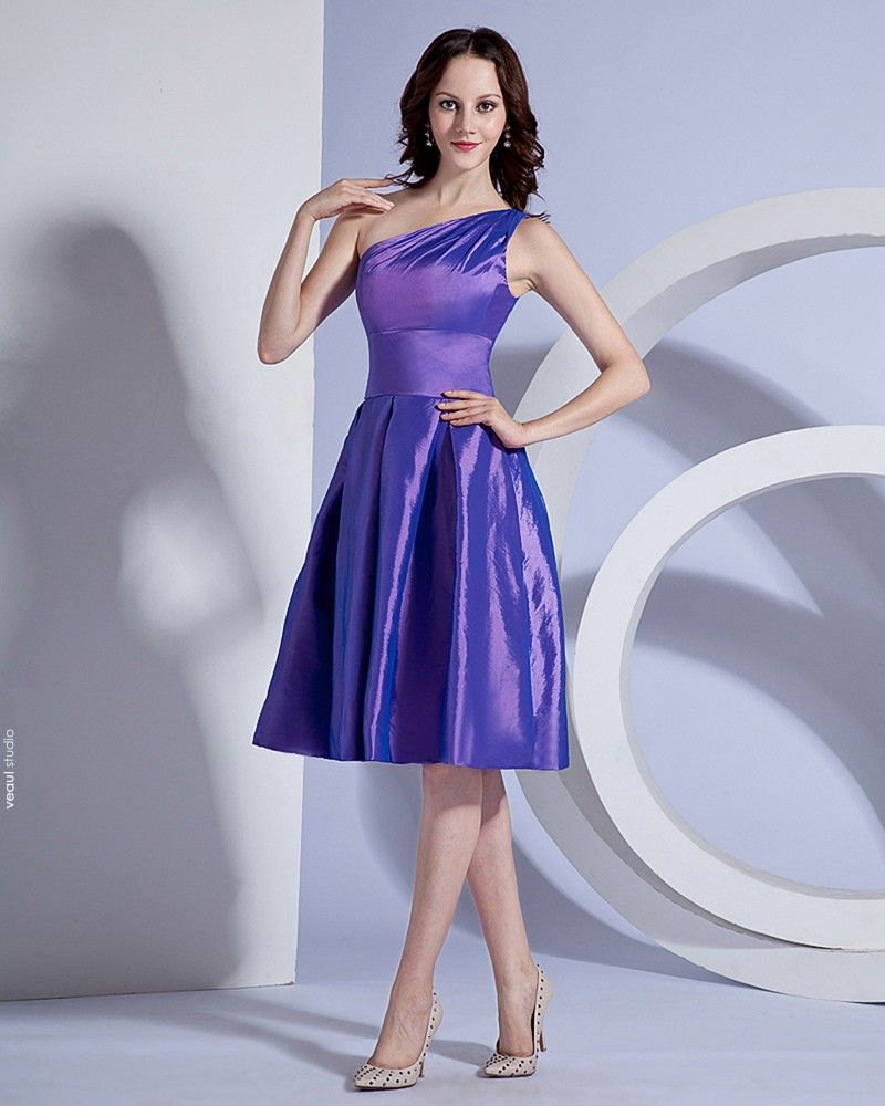Taffeta One Shoulder Ruffle Knee Length Bridesmaid Dresses