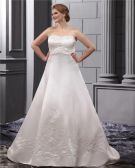 Elegant Strapless Floor Length Satin Embrpoidery Court Plus Size Bridal Wedding Dresses