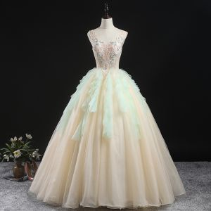 Charming Champagne Prom Dresses 2020 Ball Gown V-Neck Sleeveless Floor-Length / Long Ruffle Backless Formal Dresses