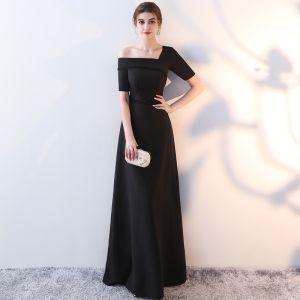 Chic / Belle Noire Robe De Soirée 2017 Princesse Unique Une épaule 1/2 Manches Perle Cristal Longue Dos Nu Robe De Ceremonie