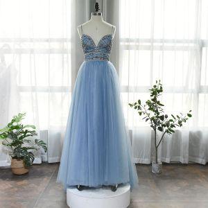 High-end Ocean Blue Dancing Prom Dresses 2020 A-Line / Princess Spaghetti Straps Sleeveless Rhinestone Beading Floor-Length / Long Ruffle Backless Formal Dresses