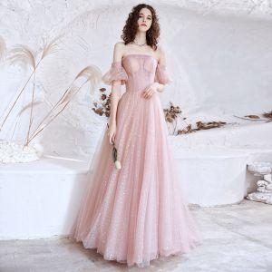 Bling Bling Rosa Ballkleider 2021 A Linie Off Shoulder Geschwollenes Kurze Ärmel Pailletten Sweep / Pinsel Zug Rüschen Rückenfreies Festliche Kleider