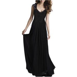 Chic / Beautiful Black Chiffon Maxi Dresses 2018 Empire V-Neck Sleeveless Floor-Length / Long Ruffle Womens Clothing