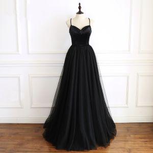 Proste / Simple Czarne Sukienki Na Bal 2019 Princessa Spaghetti Pasy Frezowanie Bez Rękawów Bez Pleców Kokarda Długie Sukienki Wizytowe