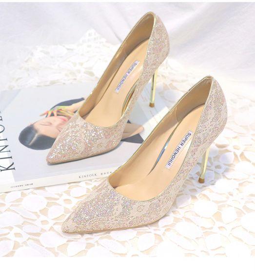 Hermoso Oro Zapatos De Mujer 2019 De Encaje Lentejuelas 10 cm Stilettos / Tacones De Aguja Punta Estrecha Tacones