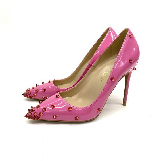 Chic / Beautiful Fuchsia Street Wear Rivet Pumps 2020 Patent Leather 12 cm Stiletto Heels Pointed Toe Pumps