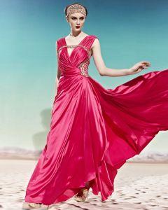 V Neck Beading Sleeveless Back Crossed Belt Floor Length Charmeuse Woman Evening Dress